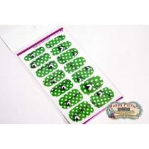 Слайдеры для ногтей (10см*6см) Зеленый в горошек с птичкой