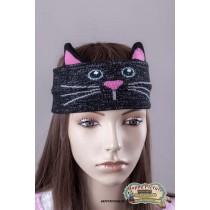 Повязка на голову в виде черного котика