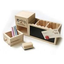 Органайзер деревянный с доской для писания и выдвижными ящичками