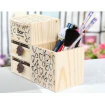 Органайзер деревянный с рисунком  мишкой и сердечками