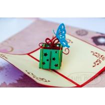 """3D открытка """"Коробочка подарков  с бабочкой"""""""