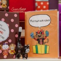 """Поздравительная открытка из серии коты супер герои  """"Дедпул"""""""