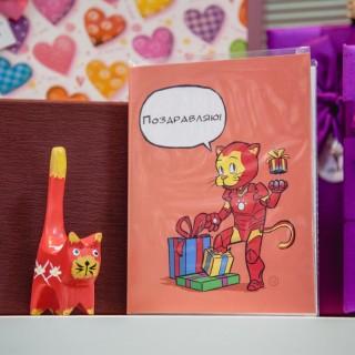 """Поздравительная открытка из серии коты супер герои  """"Железный человек"""""""