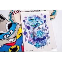 Переводная татуировка Девочка нарисованая краской (10,5смХ15см)