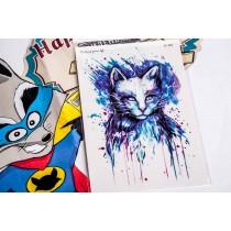 Переводная татуировка Кот нарисованая краской (10,5смХ15см)