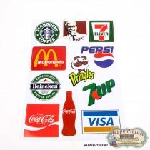 Наклейки для стикербомбинга (лист А4) Бренды (Pepsi, 7up, KFC)