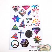 Наклейки для стикербомбинга (лист А4) Космические узоры (Viva la viva)