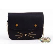 Мини сумочка  в виде мордочки котика (цвет: черный, мат-л: кож.зам.)