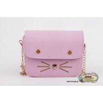 Мини сумочка  в виде мордочки котика (цвет: розовый, мат-л: кож.зам.)