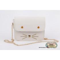 Мини сумочка  в виде мордочки котика (цвет: белый, мат-л: кож.зам.)