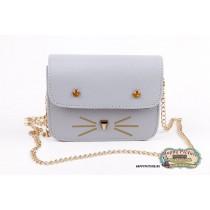 Мини сумочка  в виде мордочки котика (цвет: голубой, мат-л: кож.зам.)