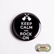 Значок  Ceep calm and rock (белый фон)