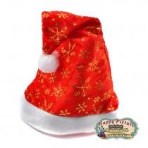 Шапка новогодняя красная со снежинками