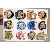 Наклейки для стикербомбинга (лист А4) Расплющенные персонажи